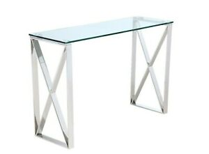 Tara Pollished Stainless Steel Console W/ Clear Tempered Glass Top(Free Postage)