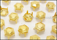 Free Shipping - 50pcs 7mm Gold Facets Hexagon Nailhead Studs Spots Vintage S200