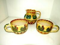 """Vintage Italica ARS Hand Painted Rooster Pitcher Made in Italy 6"""" +Two Soup Cups"""