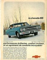 1965 CHEVROLET CHEVELLE MALIBU 2-DOOR BLUE AUTOMOBILE ORIGINAL AD IN FRENCH