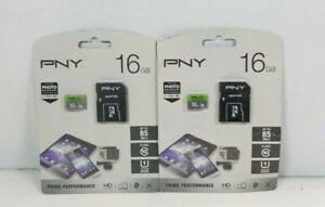 LOT OF 2: PNY 16GB Memory Car W Adapter