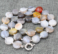 "charming 10mm Natural Persian agate gemstone coin necklace 18""AAAA"