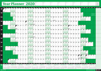 2020 Annual Wall Planner Calendar Year Yearly Plan Chart Non Laminated GREEN