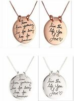 "Sterling Metal ""Live The Life You Love"" Reversible Pendant Necklace 18"" Chain"