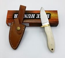 """Szco Supplies Stainless Steel Hunting Knife w/ Bone Handle 7.5"""" Overall + Sheath"""
