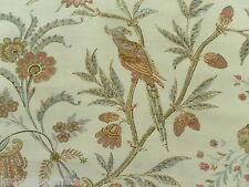 Lee Jofa Curtain Fabric SEAFIELD 4.75m Pink/Aqua Birds/Floral Design - Linen Mix