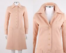 Vtg Anne Klein c.1970's Blush Pink Wool Long Sleeve Button Up Mod Shirt Dress 8