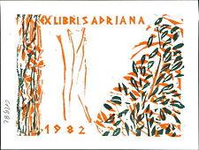 Ex-Libris 'ADRIANA'  1982 Bookplate      (JC.65)