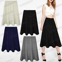LADIES WOMENS LONG SKATER SKIRTS ELASTICATED MID LENGTH SWING FLARED MID DRESS