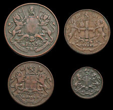 British India, Lot of 4 coins of the East India Company, 1/2, 1/4, and 1/12 Anna