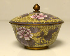 Vintage Cloisonne Bowl Yellow Floral Candy Dish