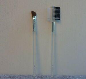 CLINIQUE 2 pcs Makeup Brush Set, Angled Eyeliner Brush + Brow Comb Brush, NEW
