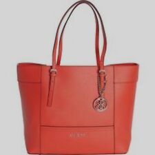Guess Cross Pattern Small Tote Handbag Ladies Red