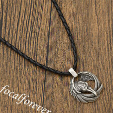 Mens Viking Crow Head Pendant Animal Necklace Black Leather Chain Vintage Father