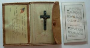 "WW2 Catholic Pocket ""Sewing Kit"" - Crucifix - Lords Prayer - Medal - ID Card"
