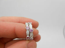 14K White Gold Two Pc Natural Pink Sapphire & Diamond Eternity Bands Ring Size 6