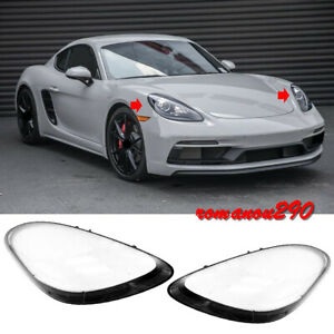 Left & Right Headlamp Lens Cover 2pcs For Porsche 718 Boxster Cayman 2017-2020