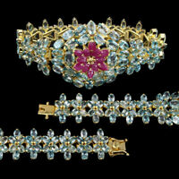 Pear Ruby Only Heated Blue Zircon Gold Plate 925 Sterling Silver Bracelet 7inchs