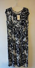 Oasis Palm Leaf Print Ruched Body Con Dress Size 14-16 UK Black