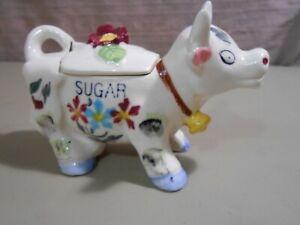 Vintage Cow Sugar Bowl Ceramic