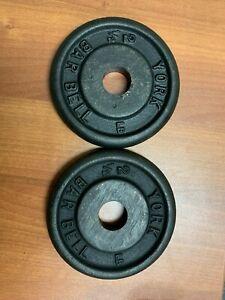 Set of 2 Vintage York Barbell 2.5 LB Weight Plates Standard barbell