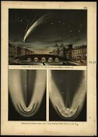 Comet of Donati 1858 Telescopic views 1888 Celestial print beautiful scarce