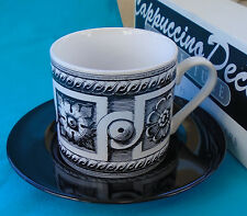 Signature Housewares Cappuccino Cup & Saucer, Architecture pattern, unused