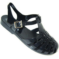 WOMENS JELLY CUT OUT SANDALS FLAT JELLIES SUMMER BEACH SHOES Ventilate Slippers
