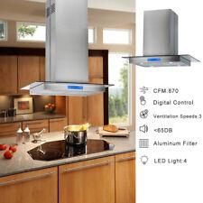 30 Inch Range Hood Island Mount Kitchen Stainless Steel Touch Control 870 Cfm