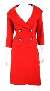 CELINE Lipstick Red Virgin Wool French Terry Skirt Suit 42