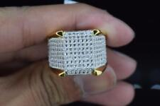 Mens Brass 14k Yellow Gold Finish Hip Hop Fully Iced Band Pinky Ring Size 9