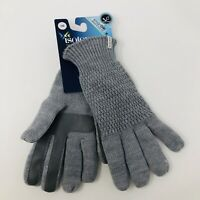 Isotoner Womens One Size Fits Most SmartDri Knit Gloves Touchscreen Gray $40