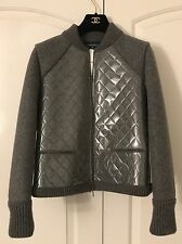 BNWT Authentic Chanel PVC Quilted Grey Bomber Long Sleeves Wool Jacket