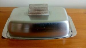 Old Hall Stainless Steel Butter Dish with glass tray 60s 70s