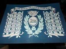 THE ROYAL MUNSTER FUSILIERS REGIMENT BATTLE HONOURS PRINT A4
