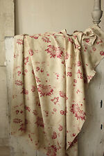 Vintage French fabric Arborescent Indienne floral design  faded ~ timeworn old ~