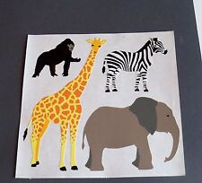 Mrs Grossman Stickers One 6 x 6 Sticker Sheet~Zebra~Ape~Elephant~Giraffe~NOOP