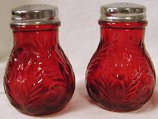 Ruby Glass Inverted Thistle Pattern Salt & Pepper Shaker Set