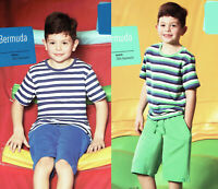 Jungen Bermuda Short Shorts Kinder 100% Baumwolle Öko-Tex Blau Grün