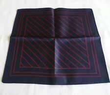 BNWOT M&S 100% Silk Pocket Square/Hankerchief in Navy Blue & Red Striped Design