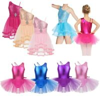 Ballet Dance Dress Costume Kids Girls One Shoulder Tutu Skirt Leotards Dancewear
