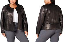 Ladies Calvin Klein Genuine Leather Plus Size Jacket - Black, Size UK 24, USA 2X