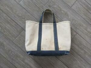 1980s vintage LL BEAN canvas BOAT AND TOTE blue bag 12X15""