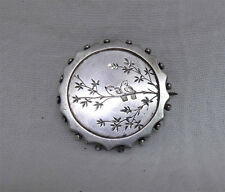 Antique Victorian Aesthetic Silver Beaded Edge Brooch - Engraved Birds