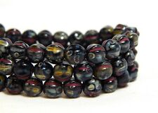 6mm Black Melon Round Beads Red Yellow Inlay Picasso Fluted Czech Glass T-79F