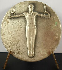 Médaille sport olympique olympic gymnastique anneaux rings sc Drago c1950 Medal
