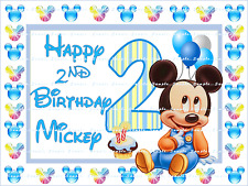 MICKEY MOUSE BABY 2ND BIRTHDAY: Personalized Edible Cake Topper FREE SHIP Canada