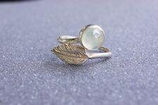 Prehnite Leaf Design Natural Gemstone Fine 925 Sterling Silver Ring Size 6/L½