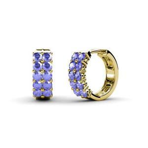 2.00 mm Petite Tanzanite 1/2 ctw Double Row Hoop Earrings 14K Gold JP:9247