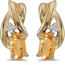 14k Yellow Gold Oval Citrine And Diamond Earrings (CM-E1861X-11)
